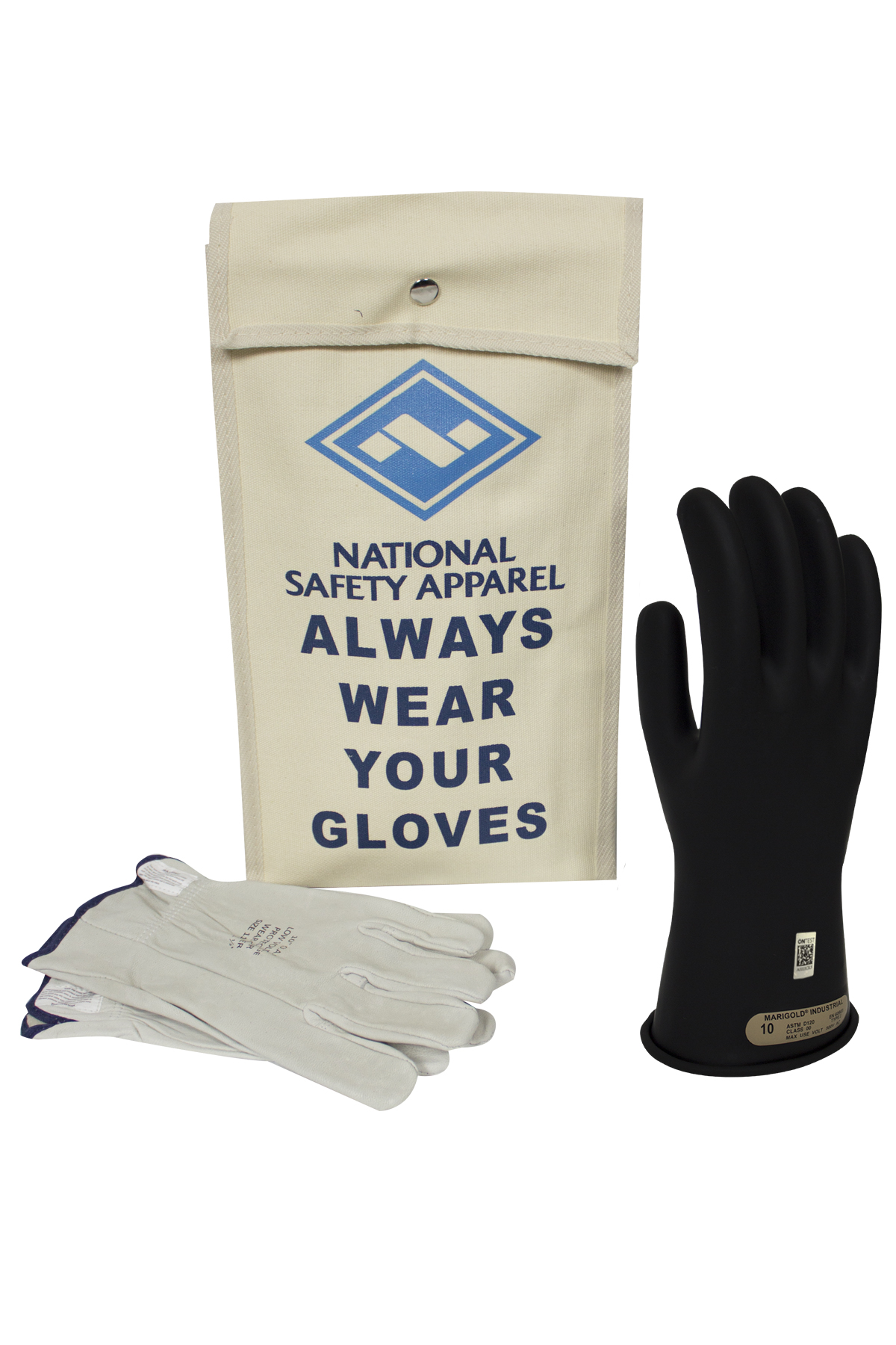 Class 00 Rubber Voltage Glove Kit - Black - 8 - Electrical
