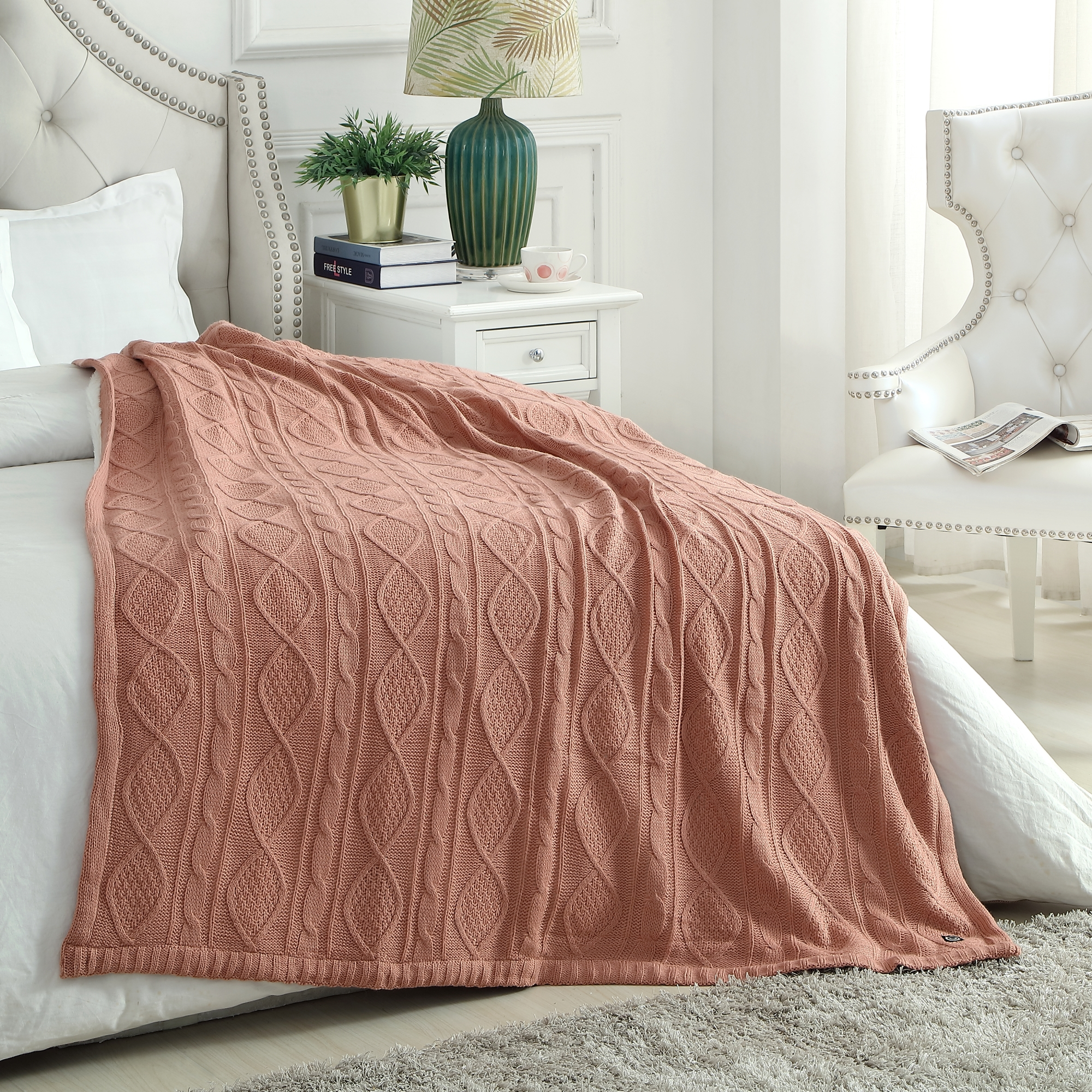 Cozy Tyme Blush Front: 100% Acrylic, Back: 100% Polyester Throw Reverse Faux Rabbit Fur Cozy