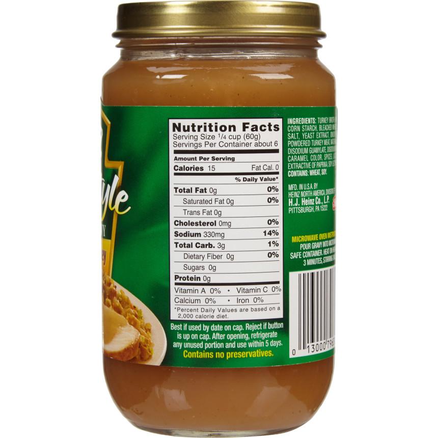 Heinz Home Style Fat Free Roasted Turkey Gravy 12 oz Jar