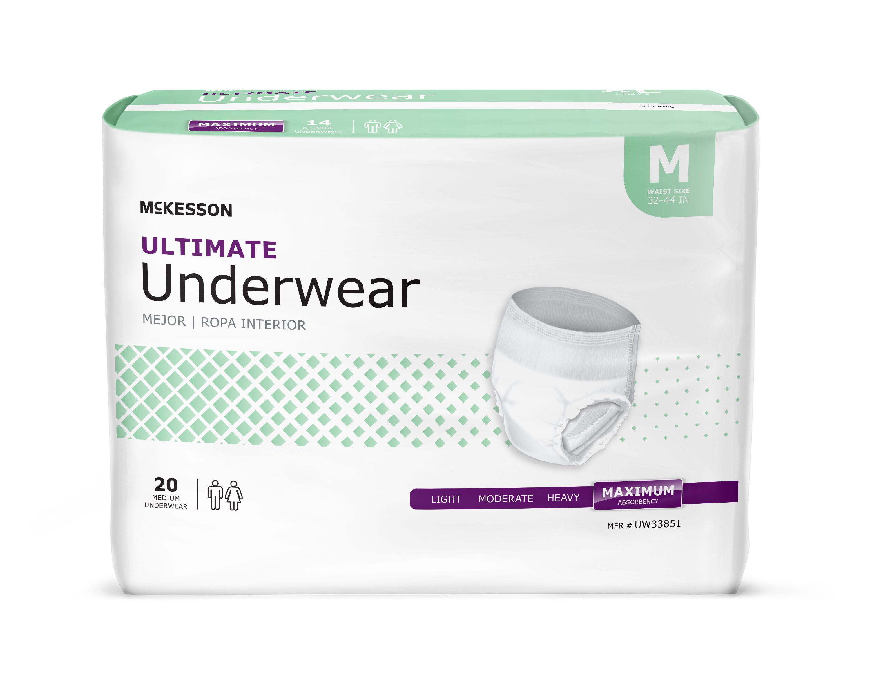 McKesson Adult Underwear Pull On Medium Disposable Heavy Absorbency, UW33851 - Pack of 20