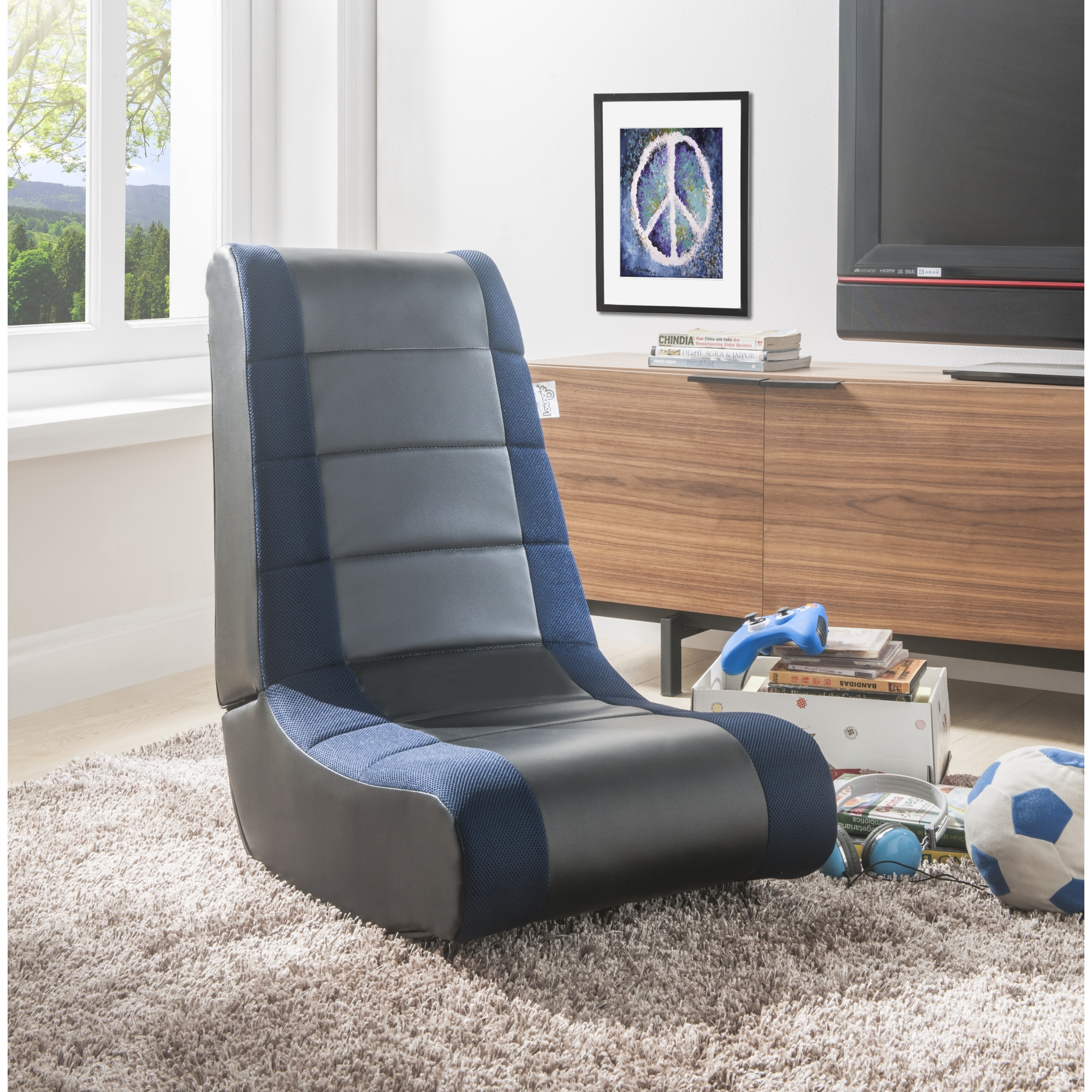 Loungie Black/Blue PU Leather Chair For Kids, Teens, Adults, Boys Or Girls