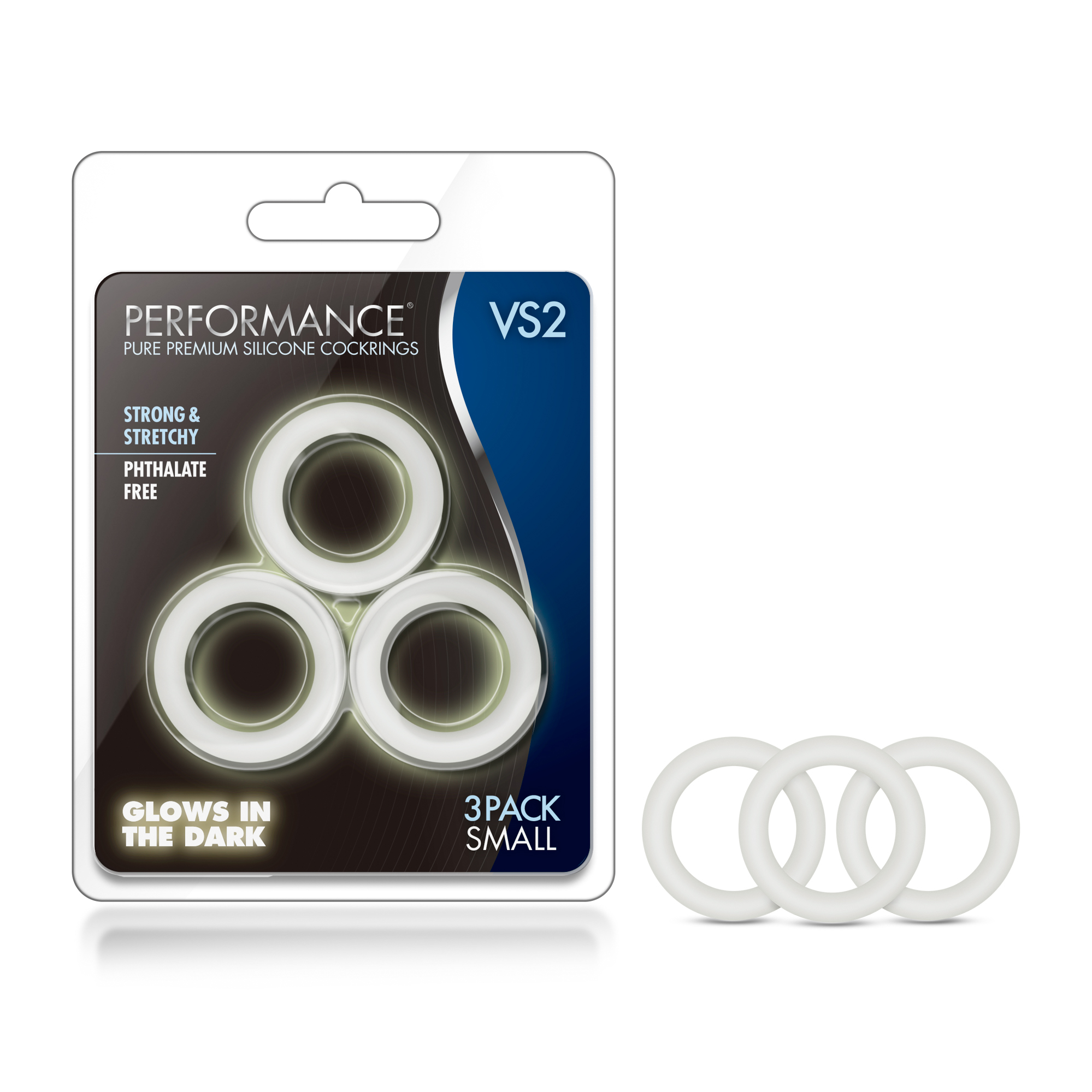 Performance - VS2 Pure Premium Silicone Cockrings - Small - White