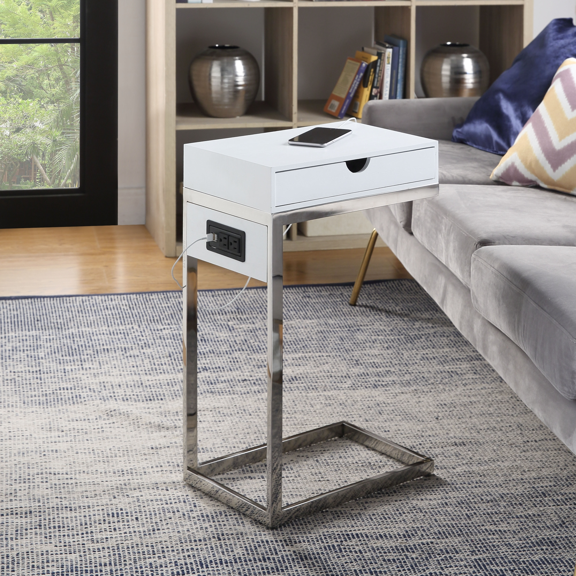 Loft Lyfe White/Chrome End Table 2 USB Charging Ports, 2 Outlets, Power Plug 1 Drawer