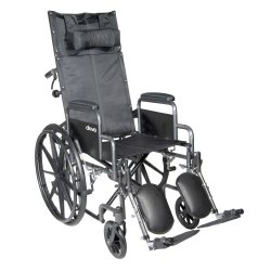 Reclining Wheelchair, McKesson, Desk Length Arm Padded, Removable Arm Style Mag Wheel Black 20 Inch Seat Width 350 lbs. Weight Capacity, 146-SSP20RBDDA - EACH