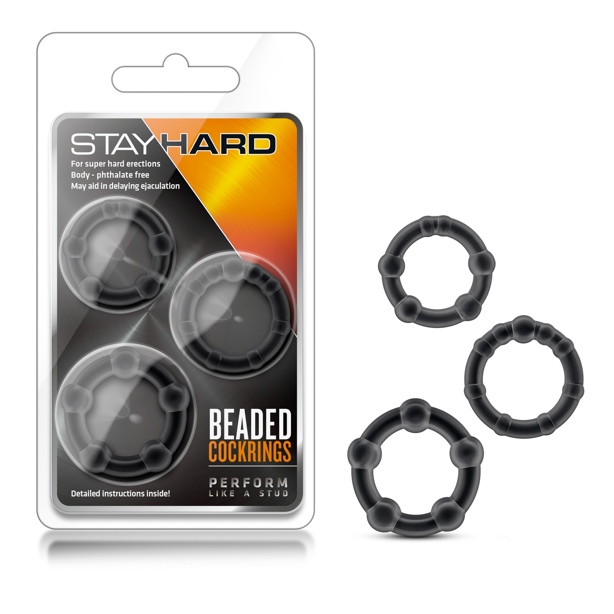 Stay Hard - Beaded Cockrings - black