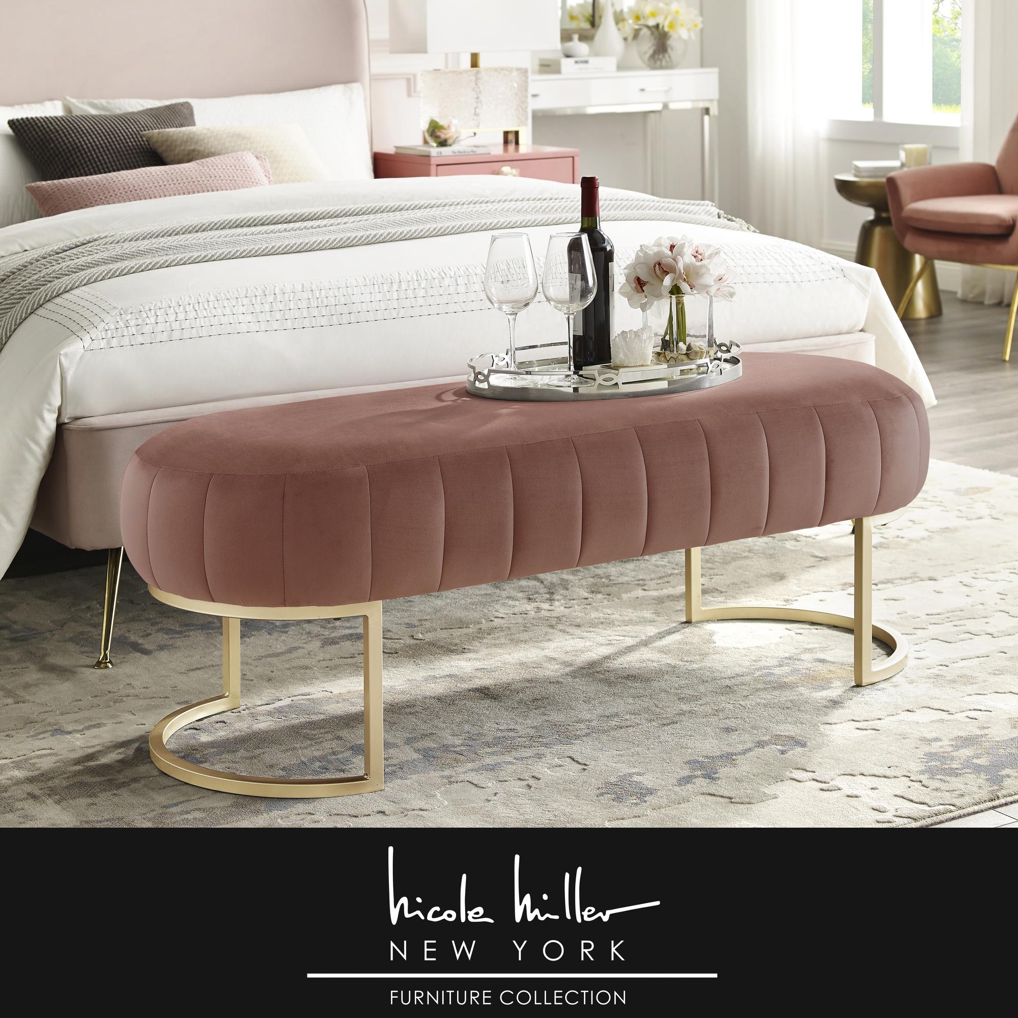 Nicole Miller Blush/Gold Velvet Bench Upholstered Side Channel Tufted
