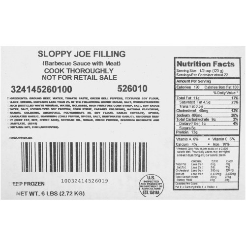 QUALITY CHEF Sloppy Joe Filling, 6 lb. Frozen Bag (Pack of 6)