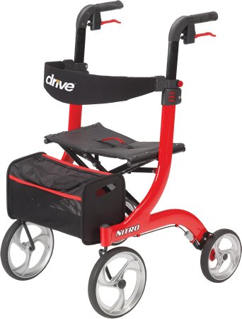 4 Wheel Rollator, Nitro, Red Adjustable Height Aluminum Frame, RTL10266 - EACH