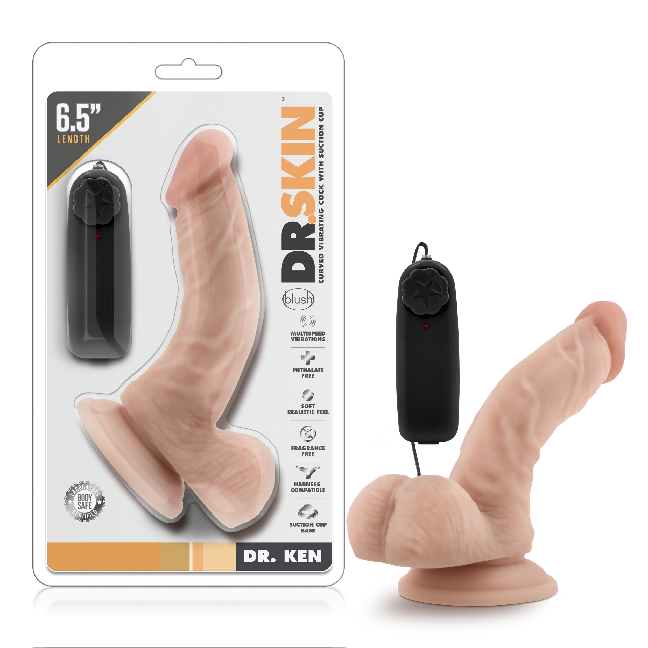 Dr. Skin - Dr. Ken - 6.5 Inch Vibrating Cock with Suction Cup - Vanilla