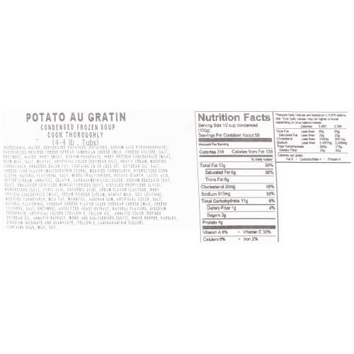HEINZ CHEF FRANCISCO Potato Au Gratin Soup, 4 lb. Tub (Pack of 4)