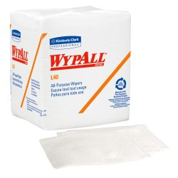 WypAll L40 Task Wipe Light Duty White NonSterile Double Re-Creped 12 X 12-1/2 Inch Disposable, 05701 - Pack of 56