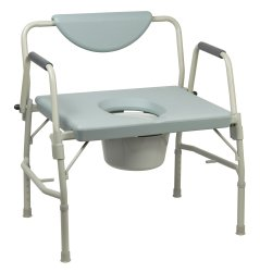 Bariatric Commode Chair, McKesson, Drop Arm Steel Frame Padded Back 17-1/2 to 22 Inch Height, 146-11135-1 - EACH