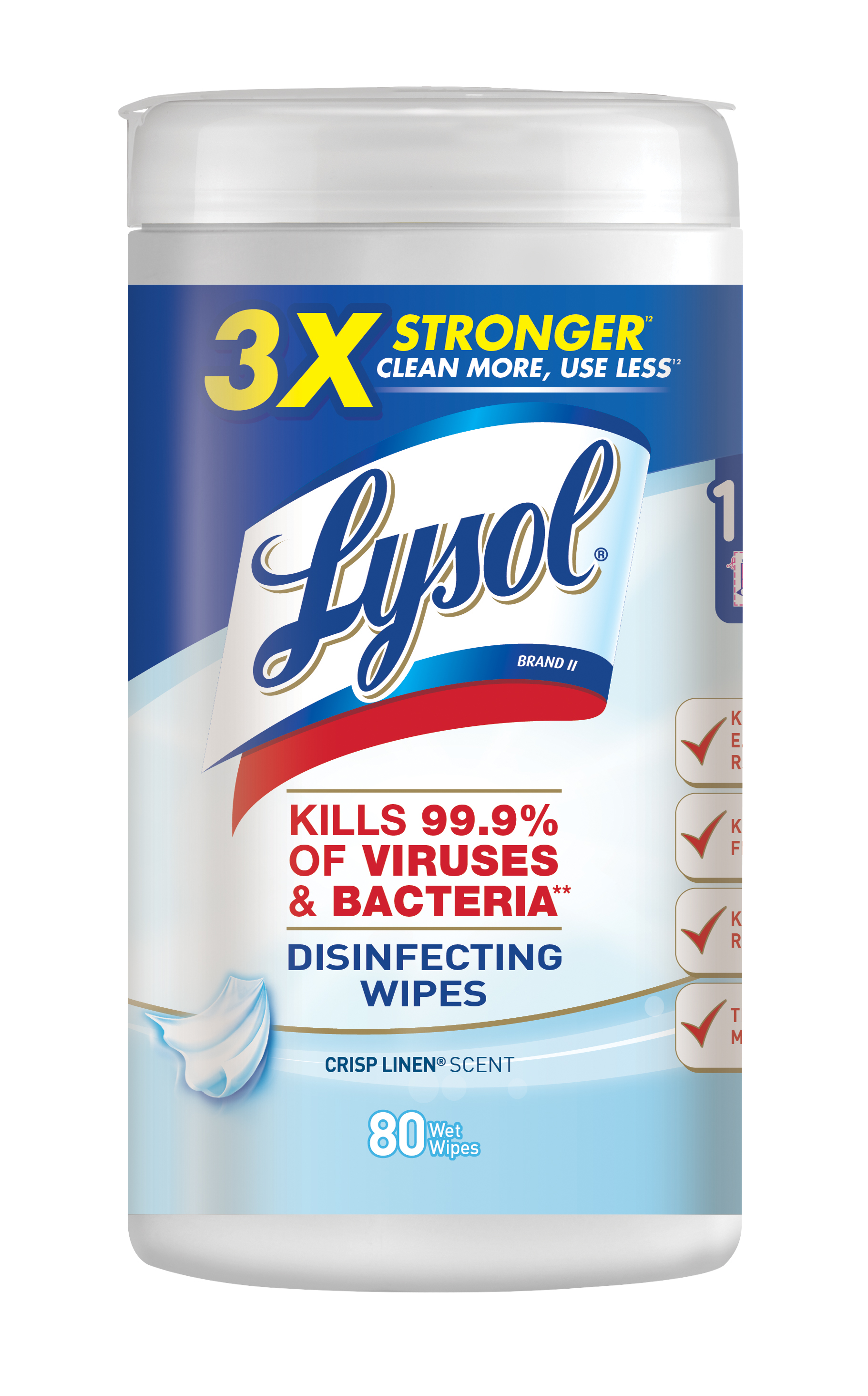 Lysol Disinfecting Wipes, Crisp Linen, 80ct