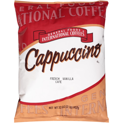 GENERAL FOODS INTERNATIONAL CAFÉ French Vanilla Cappuccino Powder, 2 lb. Container (Pack of 6)