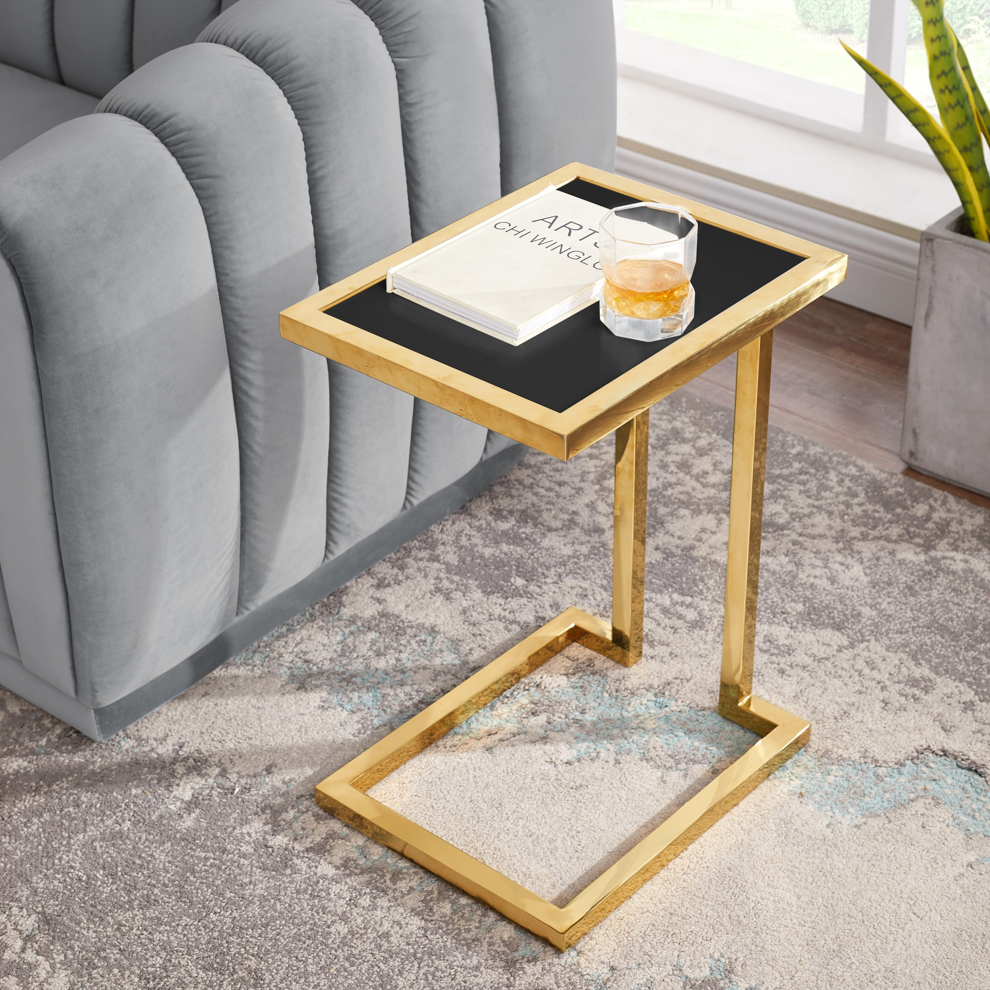 Inspired Home Black/Gold End Table Hight Gloss Lacquer Finish Top Polished Stainless Steel Base