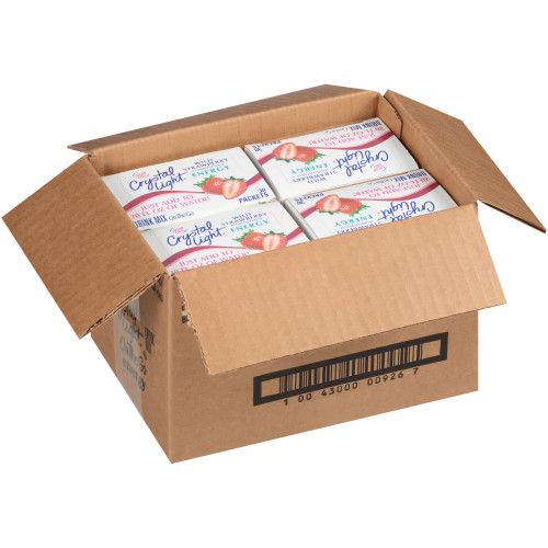 CRYSTAL LIGHT Sugar Free Energy Wild Strawberry On-the-Go Powdered Mix, 30-0.13 oz Packets per Box (Pack of 4 Boxes)