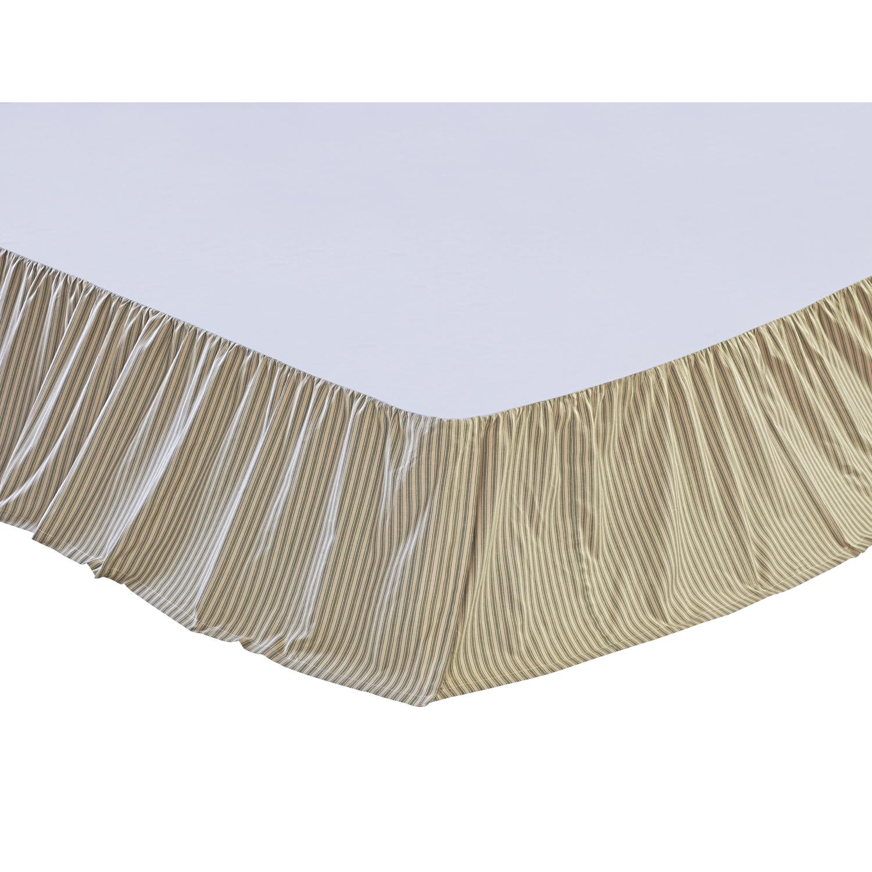 Prairie Winds Green Ticking Stripe Queen Bed Skirt 60x80x16