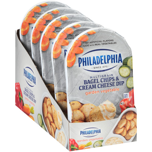 PHILADELPHIA Bagel Chips & Garden Vegetable Cream Cheese Dip, 2.5 oz. Tray (Pack of 10)