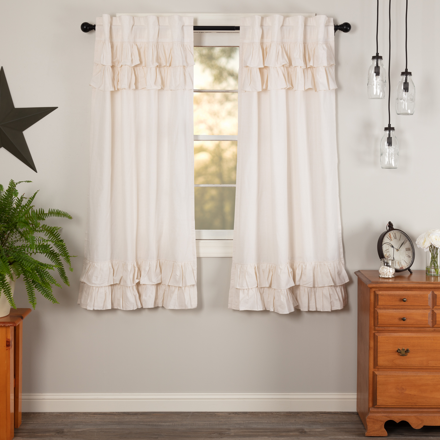 Simple Life Flax Antique White Ruffled Short Panel Set of 2 63x36