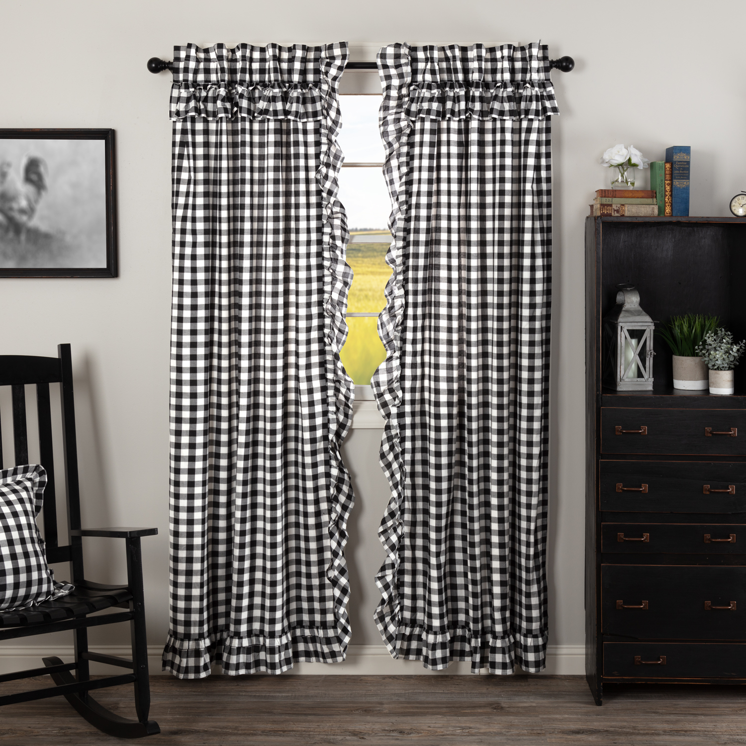 Annie Buffalo Black Check Ruffled Panel Set of 2 84x40