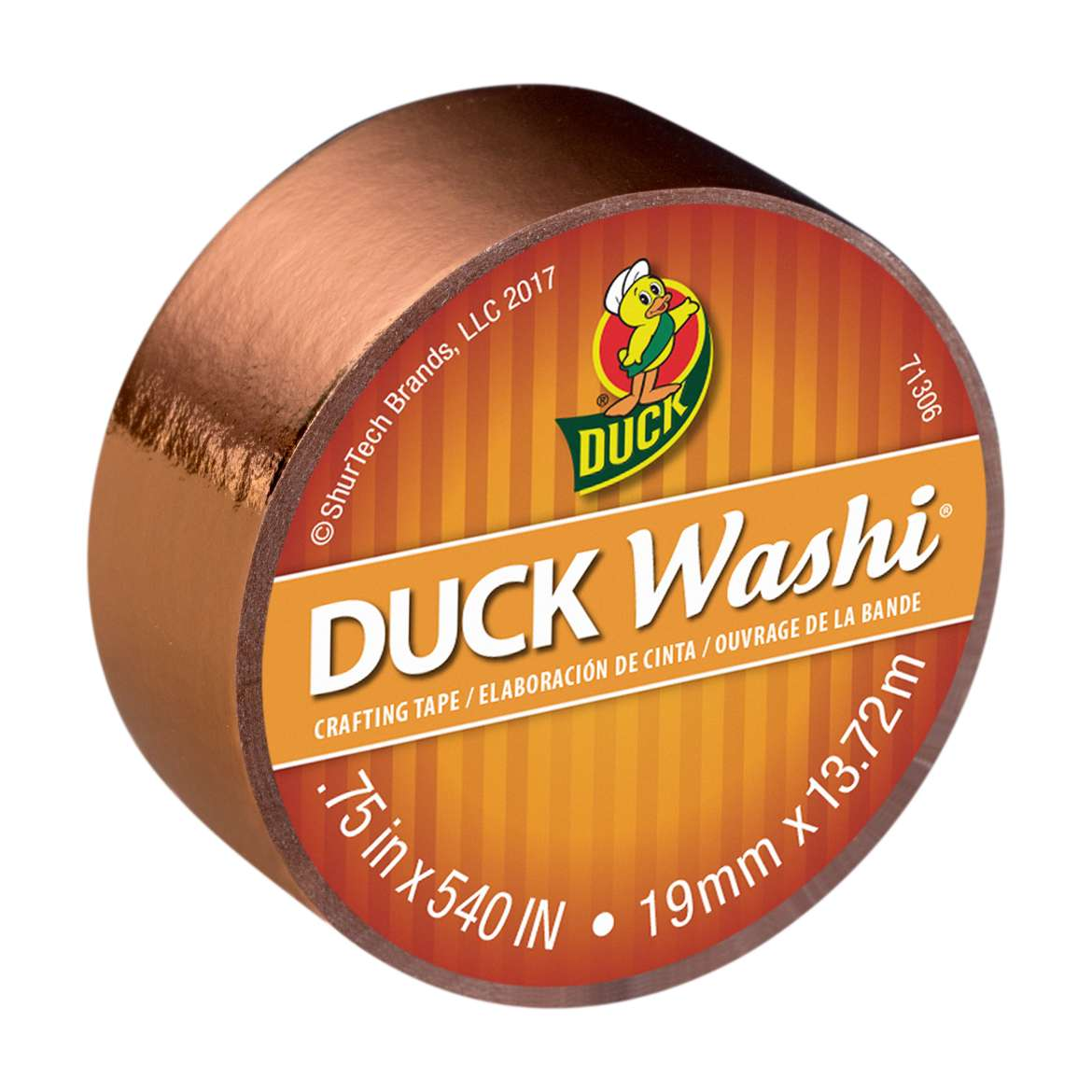 Duck Washi® Crafting Tape- Metallic Copper, 0.75 in. x 15 yd. Image