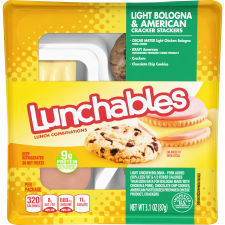 Lunchables Bologna & American With Chocolate Chip Cookies 3.1 oz Tray
