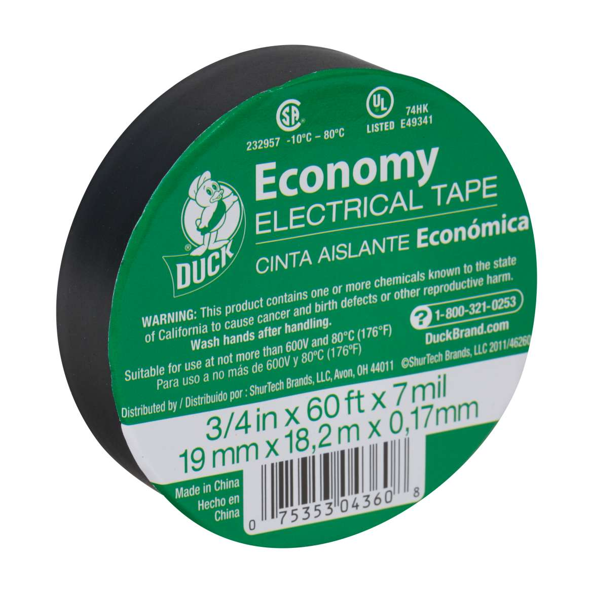 Duck® Brand Economy Electrical Tape - Black, .75 in. x 60 ft. x 7 mil. Image