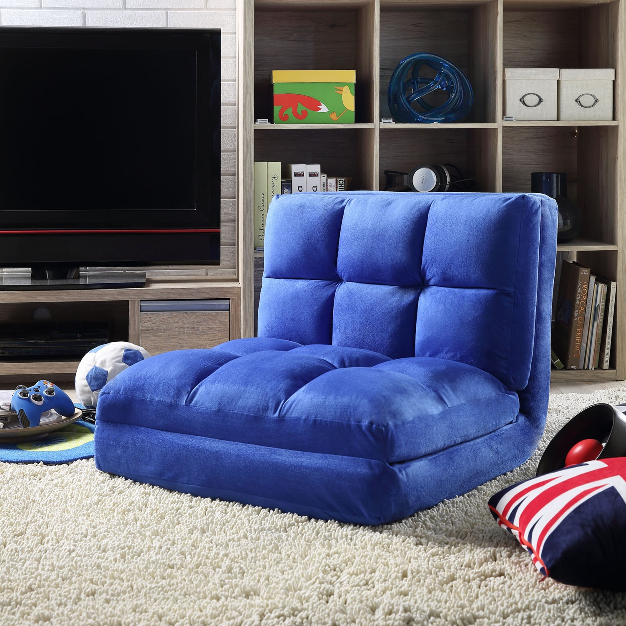 Loungie Blue Microsuede Chair Foam Filling Steel Tube Frame