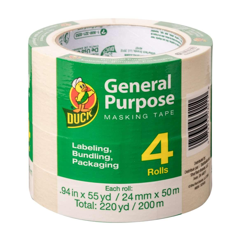 Duck® Brand General Purpose Masking Tape - Beige, 4 pk, .94 in. x 55 yd. Image