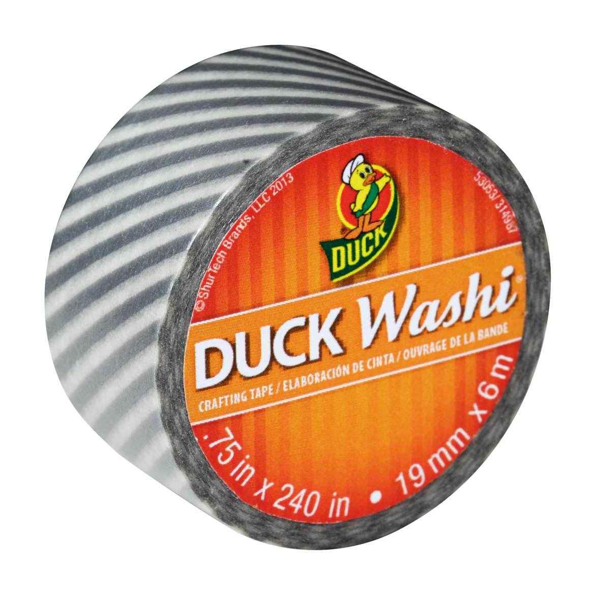 Duck Washi® Crafting Tape - Silver Stripe, .75 in. x 240 in. Image