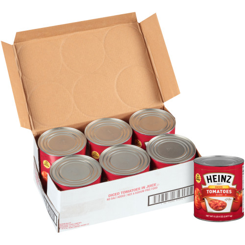 HEINZ No Salt Added Diced Tomatoes in Juice, 102 oz. Can (Pack of 6)