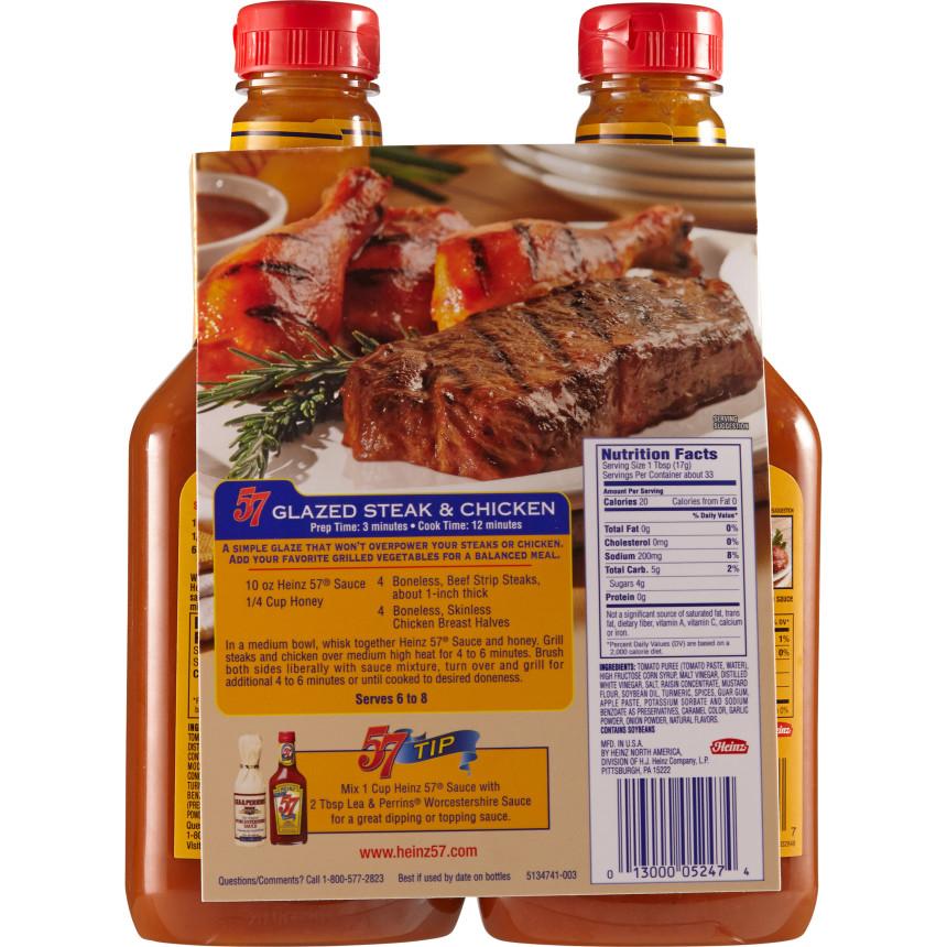 Heinz 57 20 Oz Steak Sauce 2 Pk Plastic Bottles