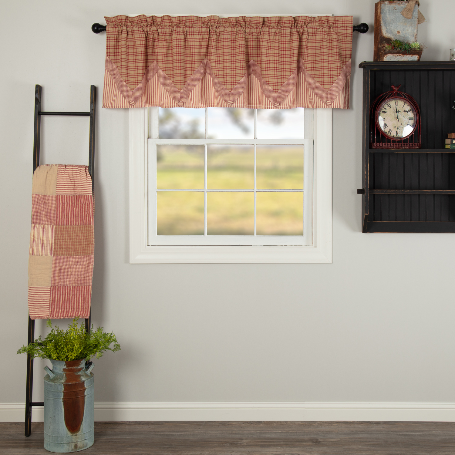 Sawyer Mill Red Valance Layered 20x72