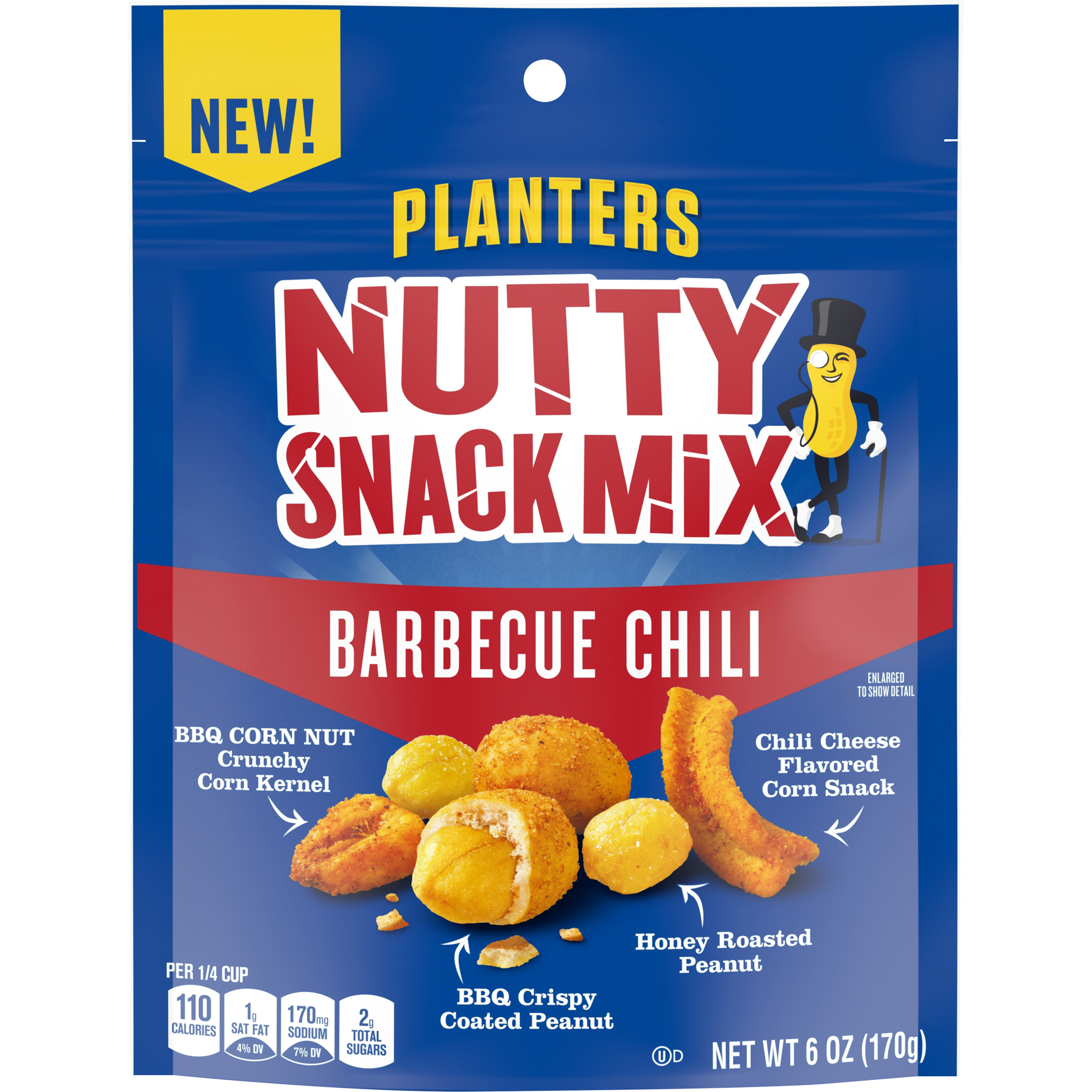 Planters BBQ Chili Nutty Snack Mix with Corn Nuts, 6 oz Bag image