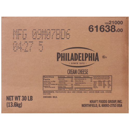 Philadelphia Original Cream Cheese Carton, 30 lb.