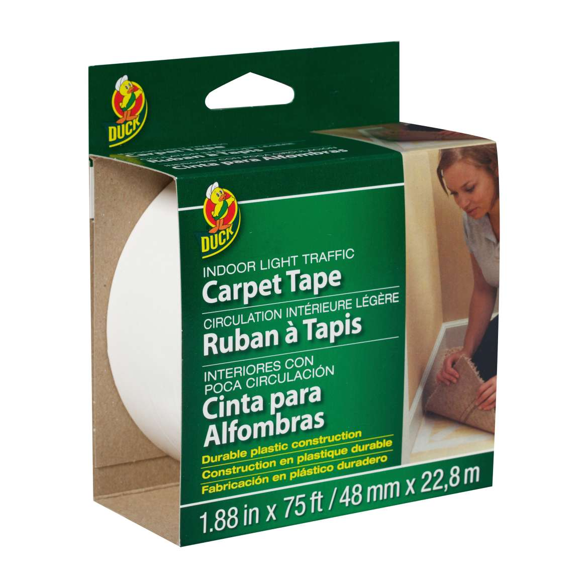 Duck® Brand Indoor Light Traffic Carpet Tape - White, 1.88 in. x 75 ft. Image