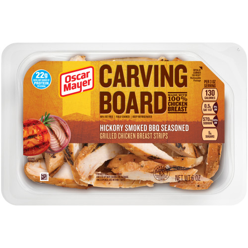 Oscar Mayer Hickory Smoked BBQ Grilled Chicken Strips Tray, 6 oz