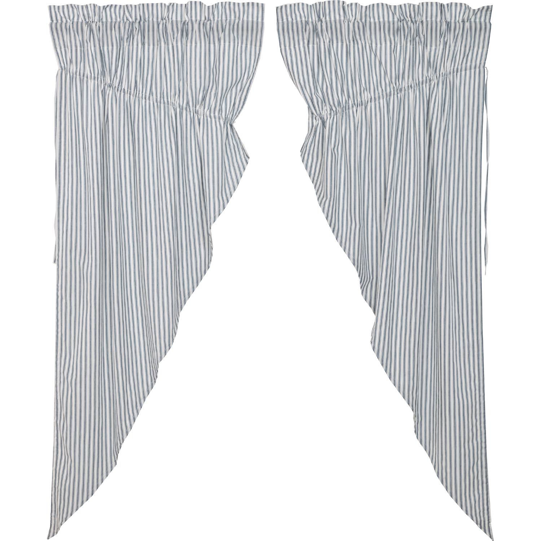 Sawyer Mill Blue Ticking Stripe Prairie Short Panel Set of 2 63x36x18