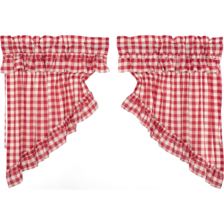 Annie Buffalo Red Check Ruffled Prairie Swag Set of 2 36x36x18