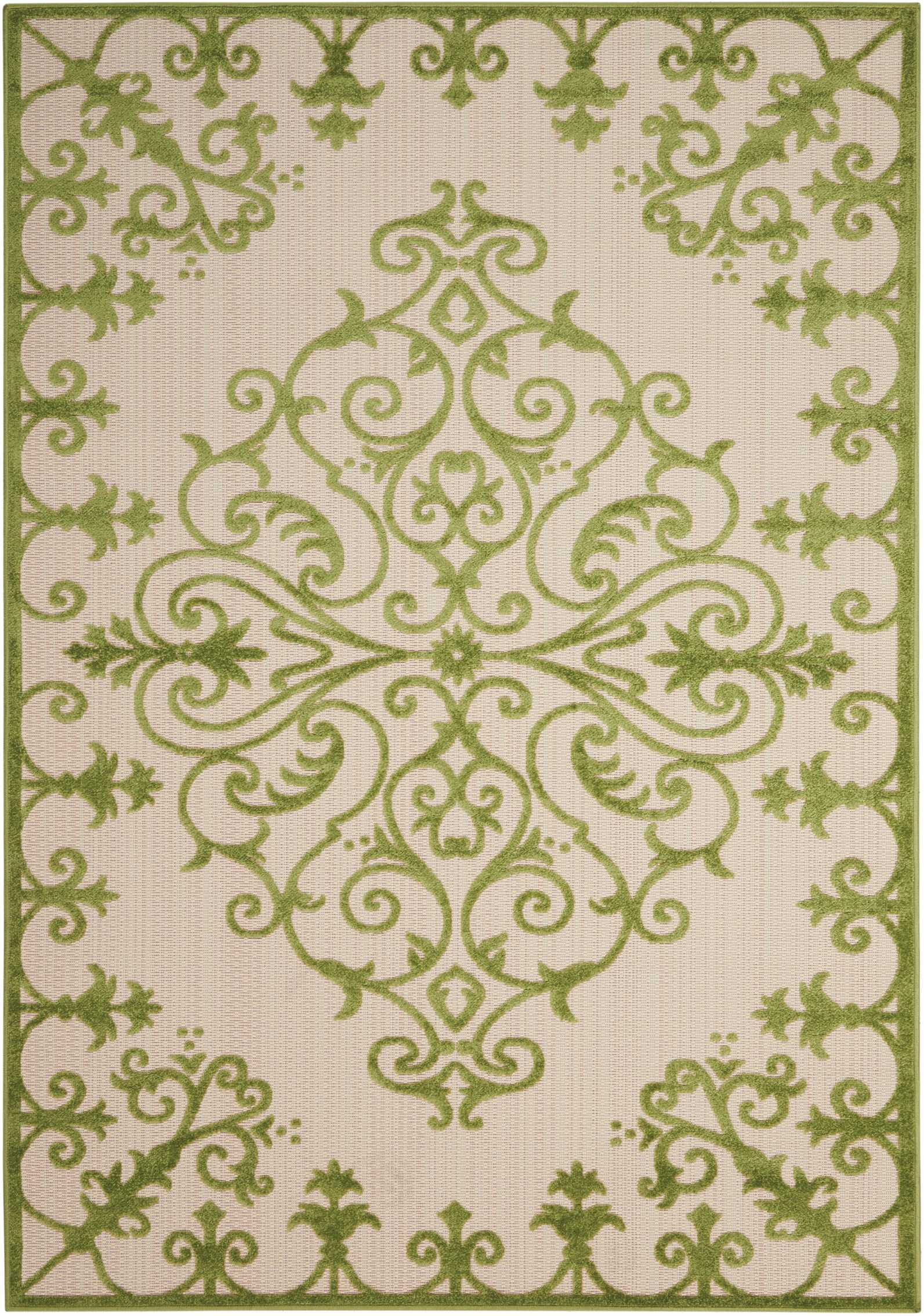 Nourison Aloha 8'X11' Green And White Oversized Textured Indoor-Outdoor Rug