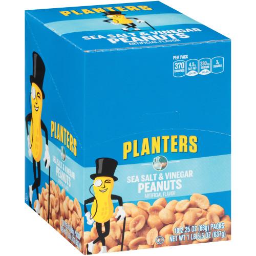 PLANTERS Sea Salt and Vinegar Peanuts, 2.25 oz Bag (3/10 Packs)