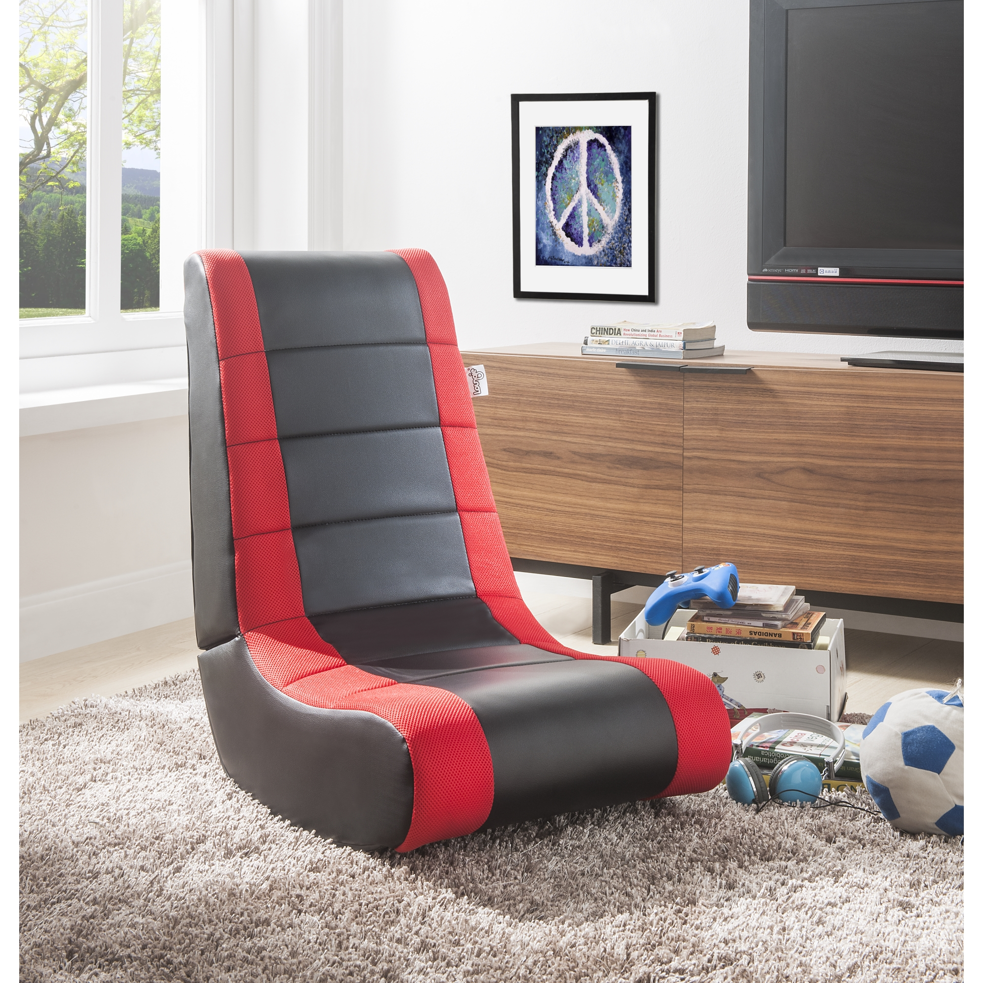 Loungie Black/Red PU Leather Chair For Kids, Teens, Adults, Boys Or Girls