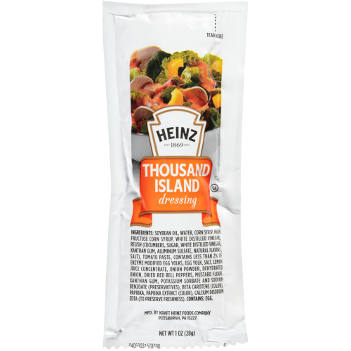 HEINZ Single Serve 1000 Island Salad Dressing, 1 oz. Packets (Pack of 100)