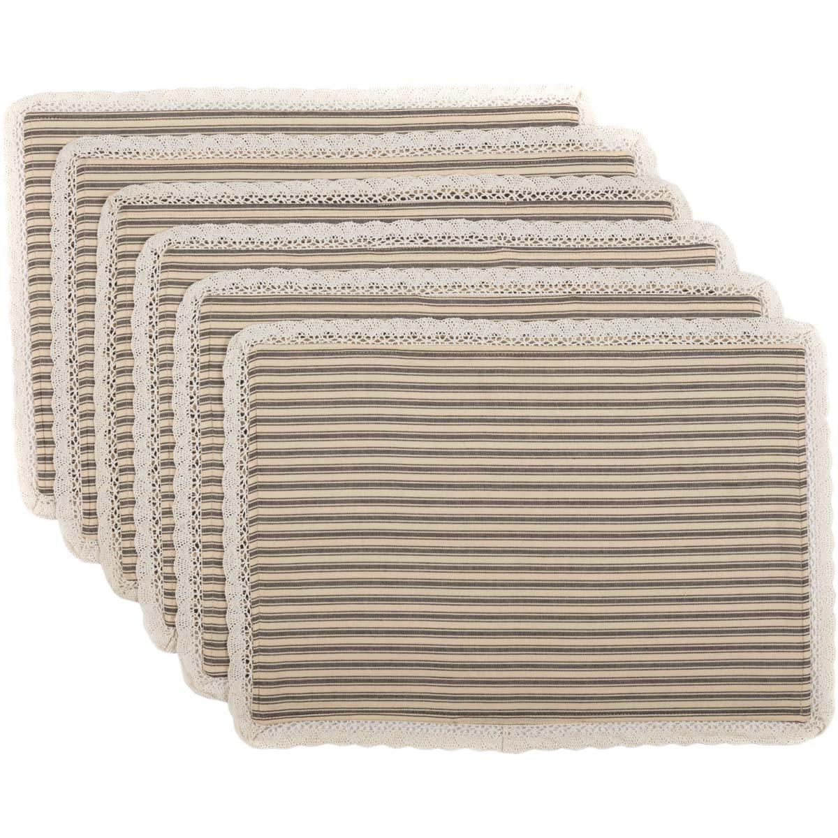 Kendra Stripe Black Placemat Set of 6 12x18
