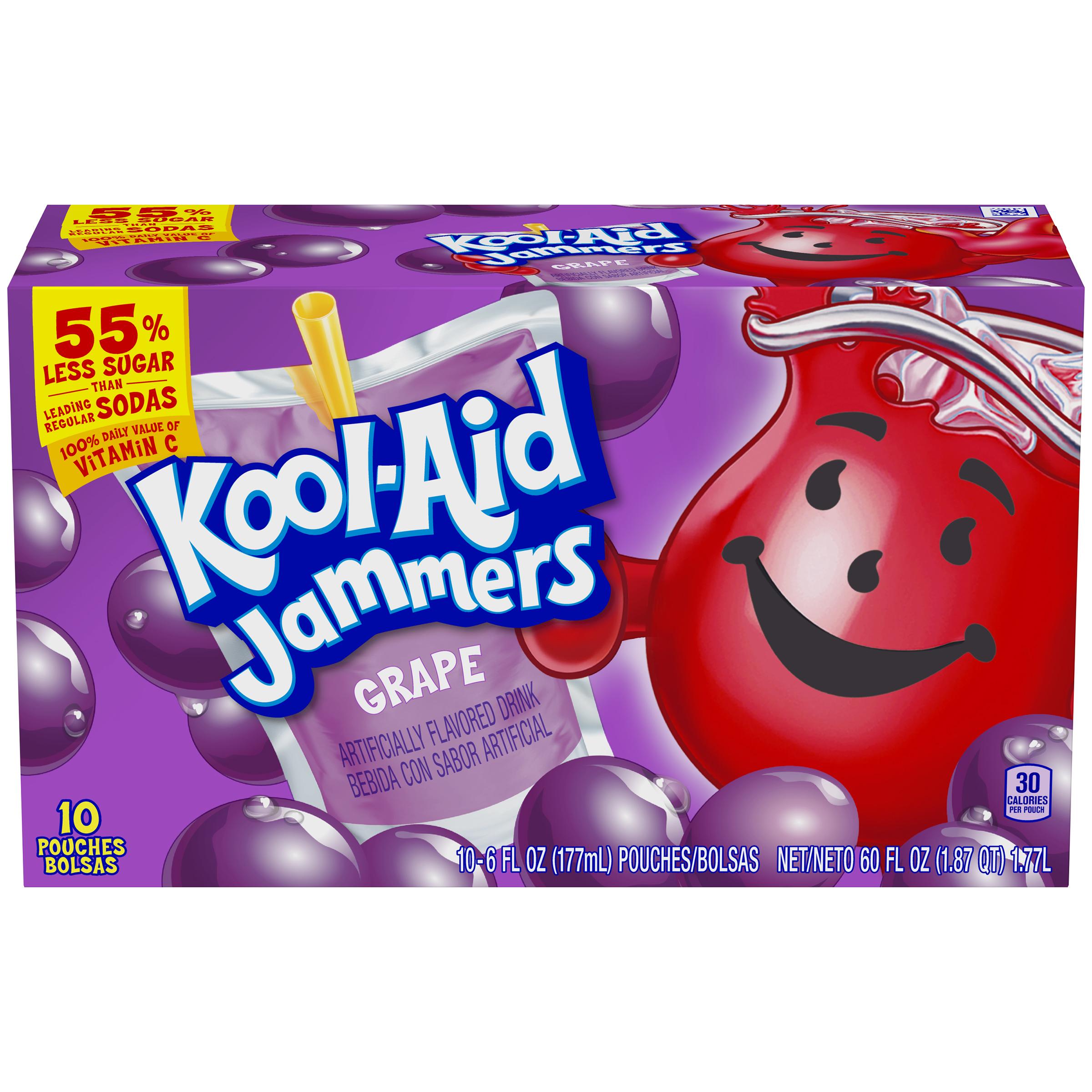 Kool-Aid Jammers Grape Flavored Drink 60 fl oz Box (10-6 fl oz Pouches) image