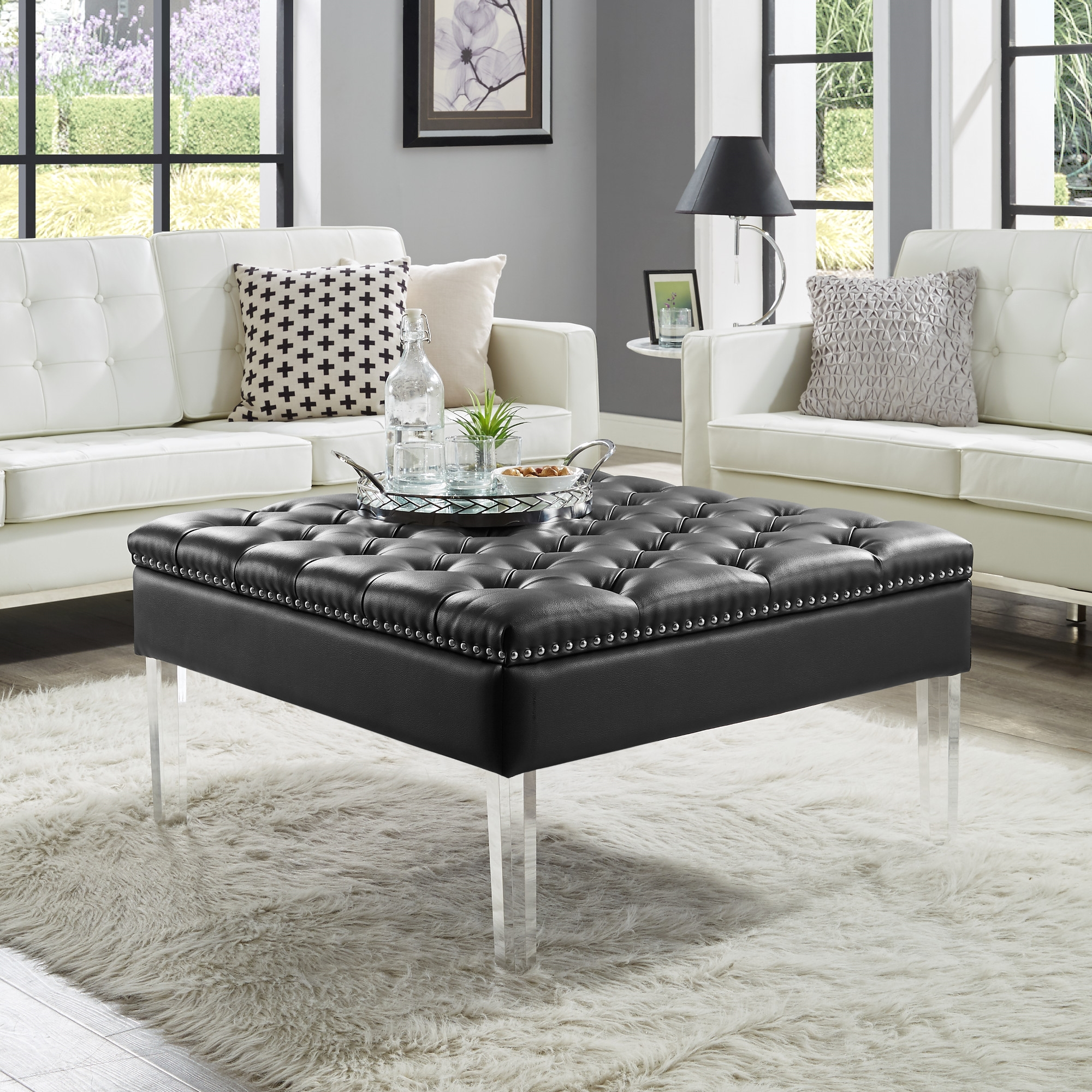 Inspired Home Black PU Leather Ottoman Oversized Button Tufted Silver Nailhead Trim