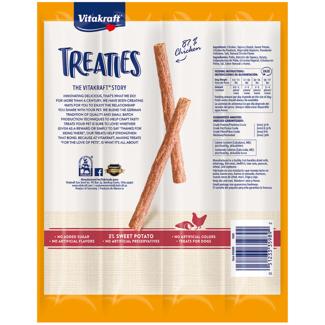 Back-Image showing Treaties Smoked Chicken Recipe with Sweet Potatoes, 4 Pack