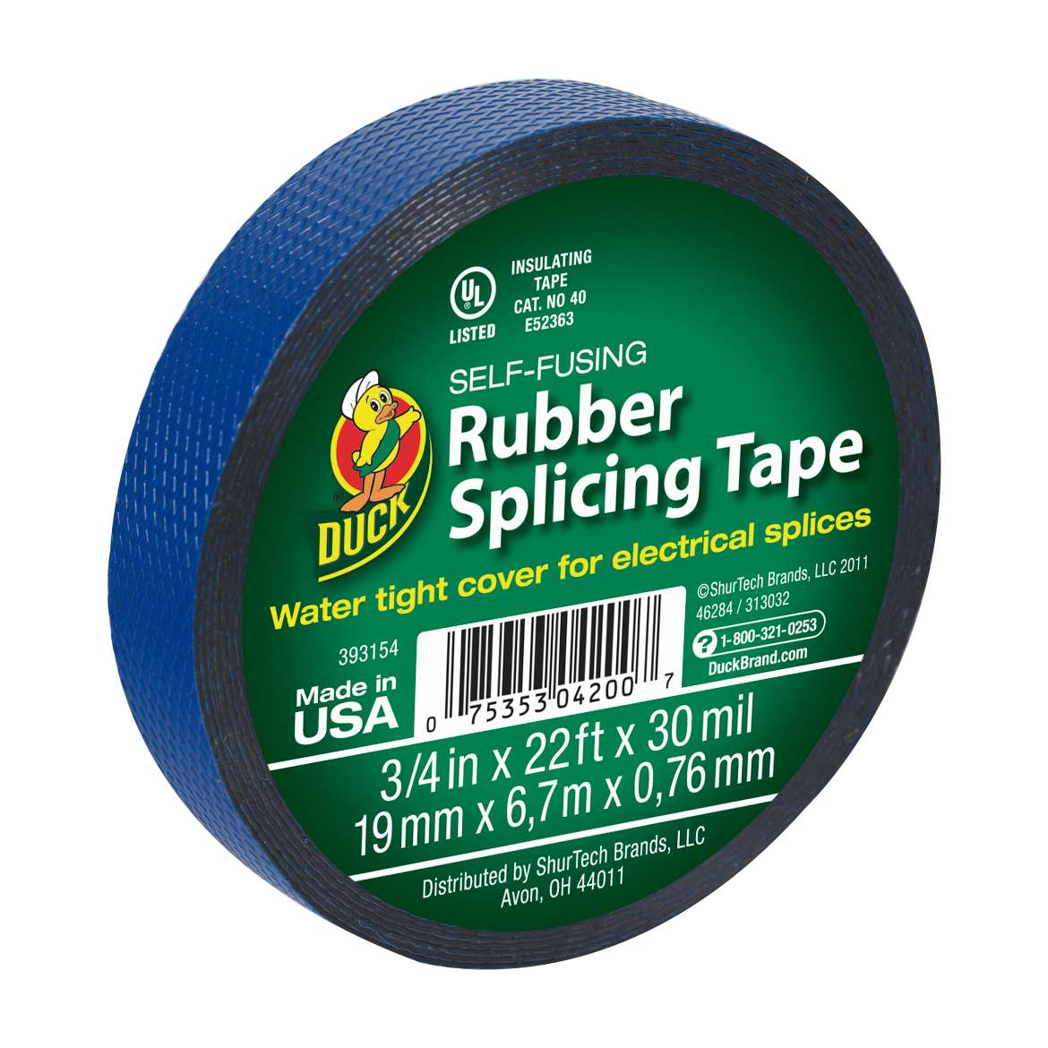 Duck® Brand Self-Fusing Rubber Splicing Tape - Blue, .75 in. x 22 ft. x 30 mil. Image