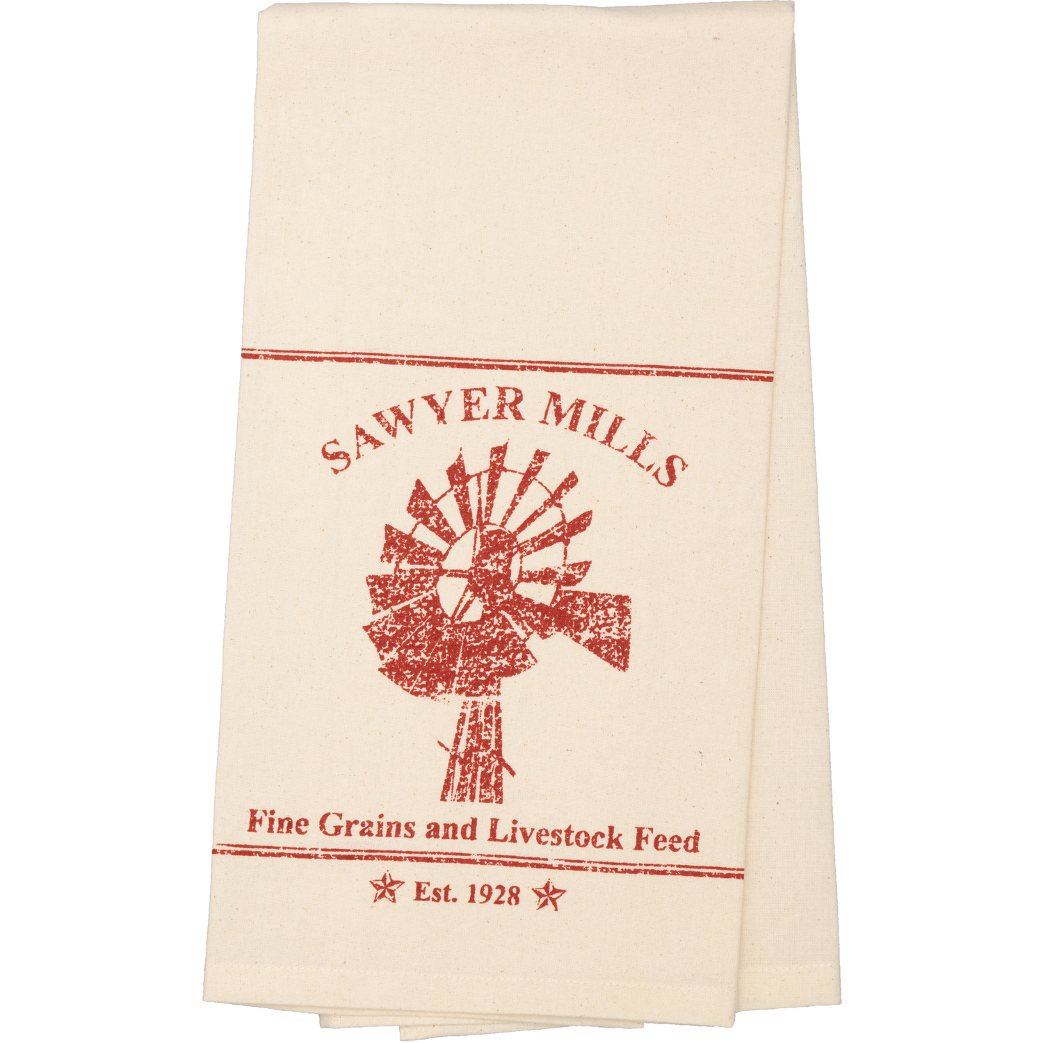 Sawyer Mill Red Windmill Muslin Unbleached Natural Tea Towel 19x28