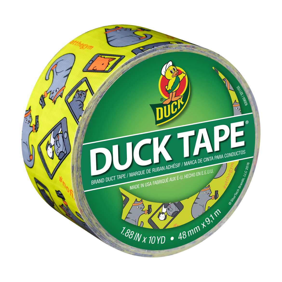 Printed Duck Tape® Brand Duct Tape - Selfie Cat, 1.88 in. x 10 yd. Image